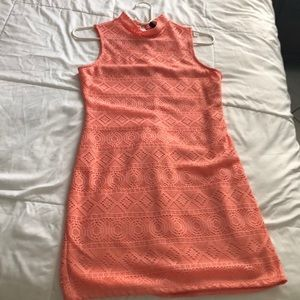Coral mock mini dress